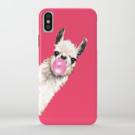 Bubble Gum Sneaky Llama in Red iPhone Case