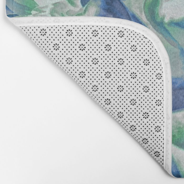 Midnight Floral Abstract Bath Mat