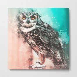 Owl Abstract Watercolor Painting Metal Print