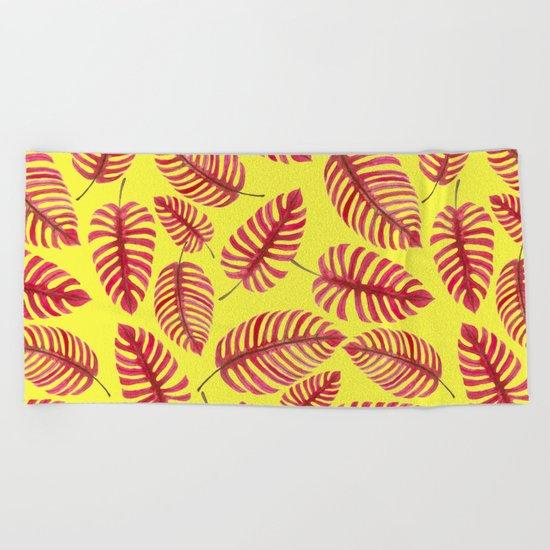 Monstera leaves, tropical watercolor pattern Beach Towel