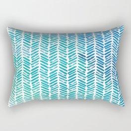 Handpainted Herringbone Chevron pattern - small - teal watercolor on white Rectangular Pillow