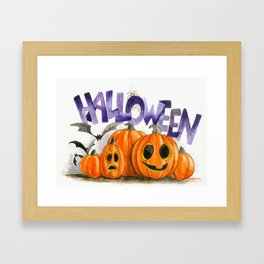 A Halloween party watercolor illustration Framed Art Print