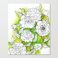 peonies Canvas Prints featuring Peonies by Dheiuk