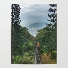 Downhill shot from a lifting up Train in Malaysia. Poster