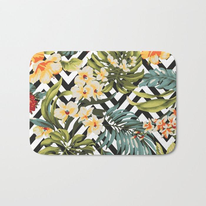 Flowered Chevron Bath Mat