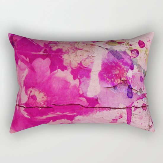 pink floral on crumbling wall Rectangular Pillow
