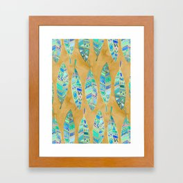 Jeweled Enamel Leaves on Tan Framed Art Print