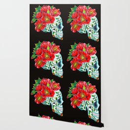 Sugar Skull with Red Poppies Wallpaper