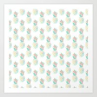 Tropical Pineapple Palm Pattern Print Art Print