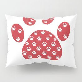 Red paw print with white paw prints with Happy New year text. Merry christmas greeting card  Pillow Sham