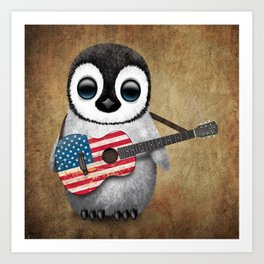 Baby Penguin Playing American Flag Acoustic Guitar Art Print