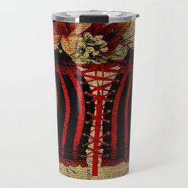 elegant girly lily flower newspaper print  black red corset Travel Mug