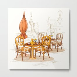 Street Cafe Sketch Metal Print
