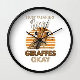 I Love Giraffes Retro Long Neck Animals Wildlife Safari Zookeeper Gift Wall Clock