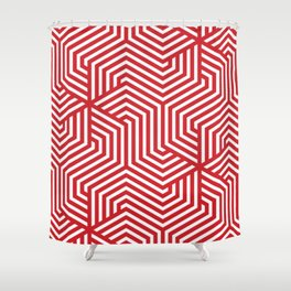 Fire engine red - red - Minimal Vector Seamless Pattern Shower Curtain