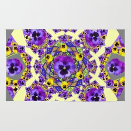 MANDALA OF PURPLE & YELLOW PANSY GARDEN Rug