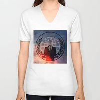 anonymous V-neck T-shirts featuring Anonymous by Sney1