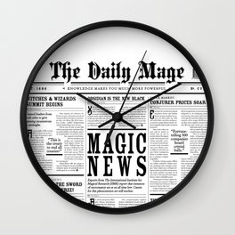 The Daily Mage Fantasy Newspaper Wall Clock