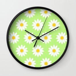 Fresh Green Daisies Wall Clock
