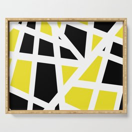 Abstract Interstate  Roadways Black & Yellow Color Serving Tray