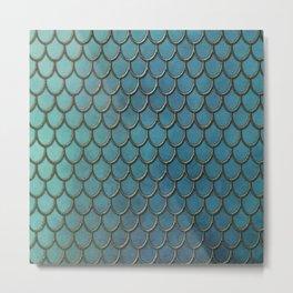 Turquoise Gold Mermaid Scales Metal Print
