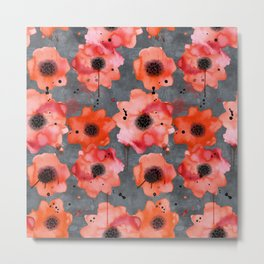 Watercolor poppies on gray background Metal Print