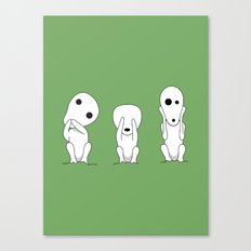 Three wise Kodamas Canvas Print