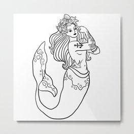 Rosie the Mermaid Metal Print