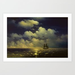 "Brig ""Mercury"" Attacked by Two Turkish Ships Masterpiece by Ivan Aivazovsky Art Print"