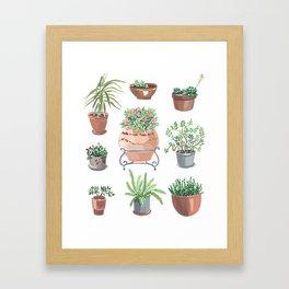 pots hand drawn pattern Framed Art Print