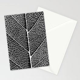 Modern abstract black white tree leave texture Stationery Cards