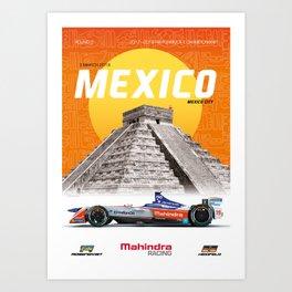 Mahindra Racing FIA Formula E Season 4 Mexico City E-Prix Poster Art Print