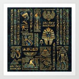 Ancient Egyptian Hieroglyph Sphinx Pyramid Art Print