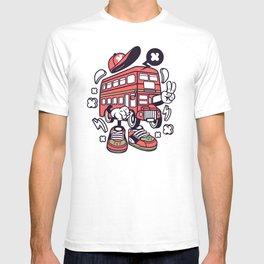 Funny Double Decker Bus Cartoon T-shirt