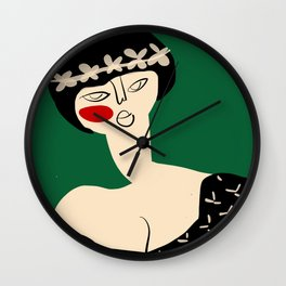Girl with flower crown Wall Clock