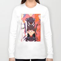 evangelion Long Sleeve T-shirts featuring Evangelion Kids by minthues