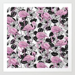 Flamingos and hibiscus flowers Art Print