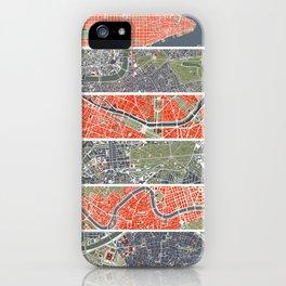 Six cities: NYC London Paris Berlin Rome Seville iPhone Case