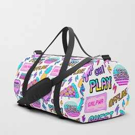 Colorful seamless pattern with patches: pineapples, pizza slices, hearts, etc Duffle Bag