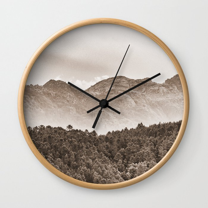 The mountain beyond the forest Wall Clock