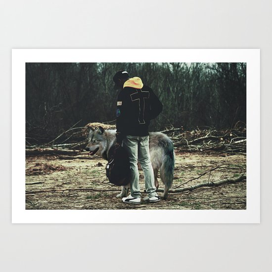 Kid with wolf Art Print