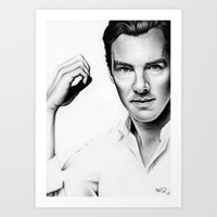 cumberbatch Art Prints featuring Benedict Cumberbatch by Denda Reloaded