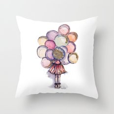 Float Away // Fashion Illustration Throw Pillow