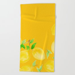 Lemons on Mustard Yellow Beach Towel