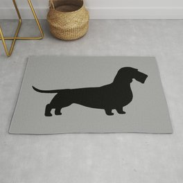 Wirehaired Dachshund Silhouette Rug