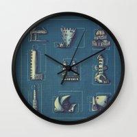blueprint Wall Clocks featuring Blueprint for Architectural Growth by Sam Bertram
