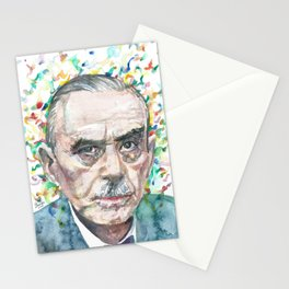 THOMAS MANN - watercolor portrait.3 Stationery Cards