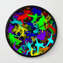 Rainbow people falling Wall Clock