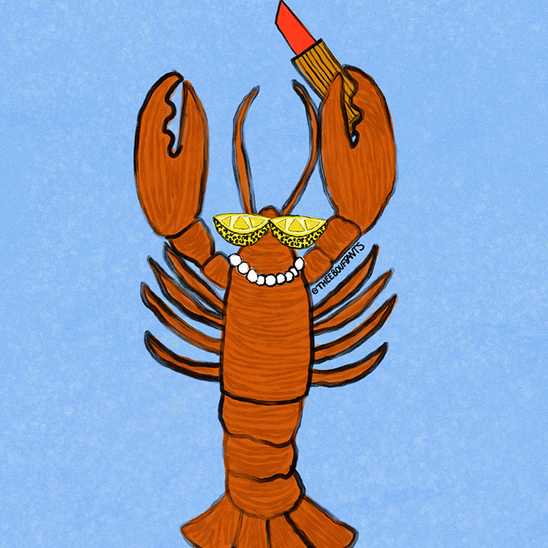 painting of a lobster wearing sunglasses and pearls, holding a red lipstick