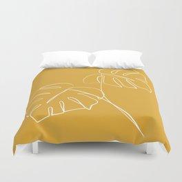 Monstera minimal - yellow Duvet Cover